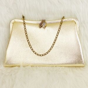 Vintage 60s Gold Lame Clutch Bag
